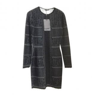 Alexander McQueen Knit Lasercut Navy Dress