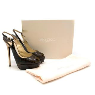 Jimmy Choo Brown Snake Print Leather Tacco 145 Platform Pumps