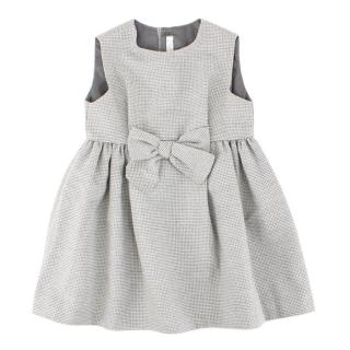 Il Gufo Girls Grey Houndstooth Pattern Dress
