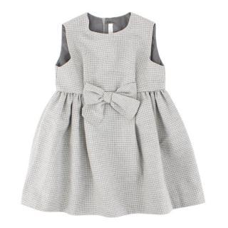 Il Gufo Girls Grey Houndstooth Pattern Dress