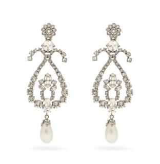 Miu Miu Metallic Oversized Crystal & Pearl Clip On Earrings