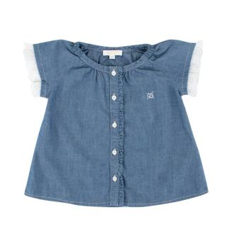 Gucci Girls 9-12M Blue Denim Blouse