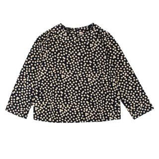 Bonpoint Girls Navy Polka Dot Top