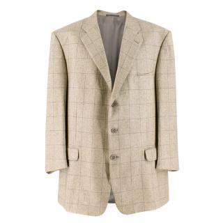 Ermenegildo Zegna Beige Silk & Cashmere-blend Check Blazer