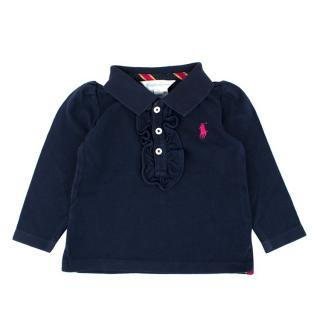 Ralph Lauren Girls 6M Navy Long-sleeved Polo Shirt