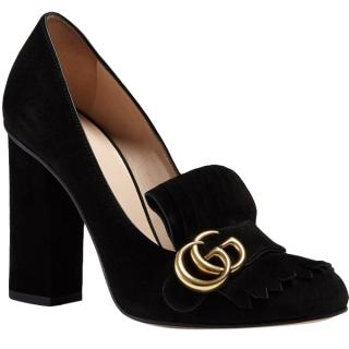 Gucci Black Marmont Fringed Suede Pumps