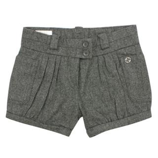 Gucci Girls 18-24M Grey Wool Pleated Shorts