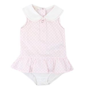 Gucci Babies 9-12M White GG Print All-in-One Dress