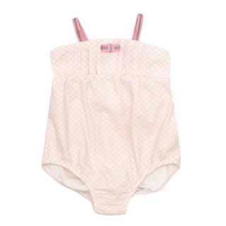 Gucci Girls White & Pink GG Logo Print Swimsuit