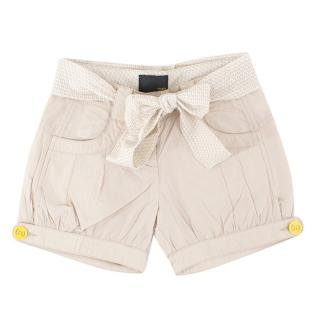 Fendi Girls Beige Cotton Shorts