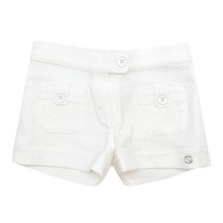Gucci Girls White Honeycomb-effect Shorts