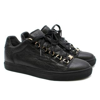 Balenciaga Black Leather Arena Low Sneakers