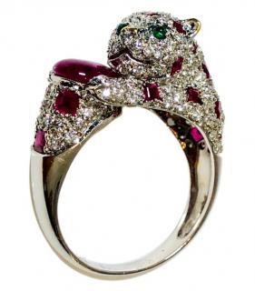 Bespoke Diamond, Ruby & Emerald 18K Gold Panther Ring