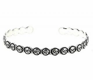 Pyrrha Solid Silver Skull Bracelet