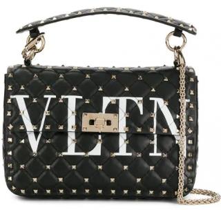 91b72d534a2e Valentino black VLTN rockstud spike leather shoulder bag