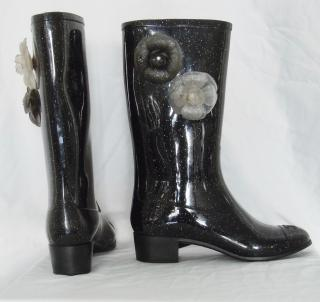 Chanel Black Glitter Wellington Boots