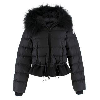 Moncler Black Fur Hooded Down Jacket