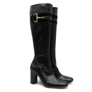 Gucci Black Leather Knee High Heeled Horsebit Boots