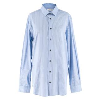 Joseph Men's Blue & White Pinstripe Cotton John Shirt