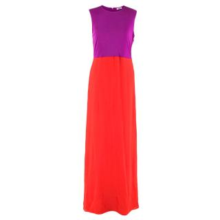 Issa Purple & Orange Colorblock Dress