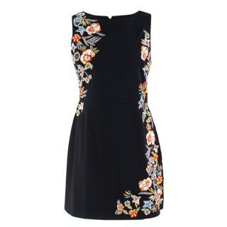 Alice+Olivia Black Embroidered Floral Dress