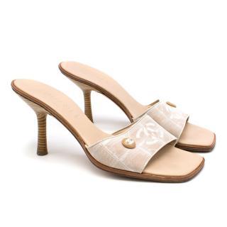 Chanel Vintage Beige 90mm Slip-on Sandals