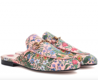 Gucci Pink Floral Princetown Slippers
