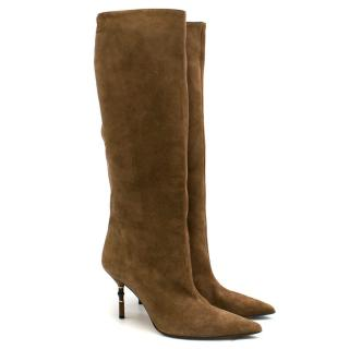 Gucci Tan Suede Knee-length Heeled Boots
