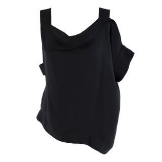 Roland Mouret Black Asymmetric Silk Top
