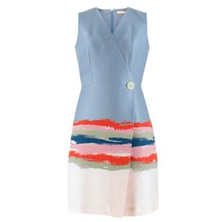 Tory Burch Blue Painterly Jacquard Dress