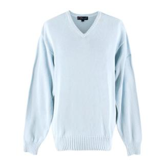 Faconnable Blue Knit V-neck Sweater
