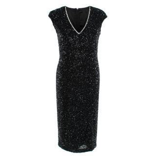 Rachel Gilbert Black Cap-Sleeve Sequined Fleur Dress