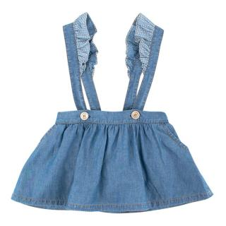 Fendi Girls Denim Dungaree Skirt