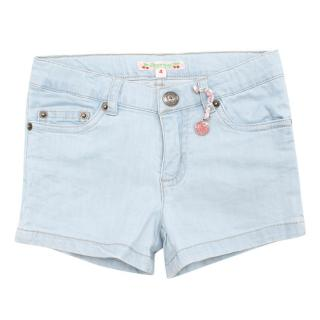 Bonpoint Girls Light Blue Cotton Shorts