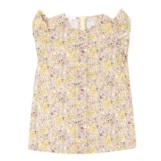 NG (Alessa M) Gucci Girls Yellow Floral-print Cotton Dress