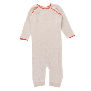 Bonpoint Baby 12M Beige & Orange Trim Baby Grow
