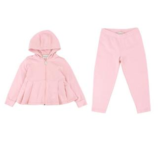Moncler Girls Pink Cotton Hooded Jacket and Pants