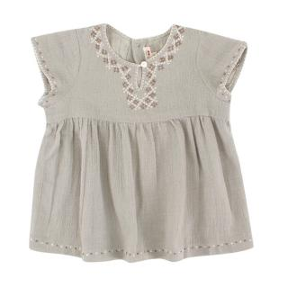 Bonpoint Girls Grey Cotton Top