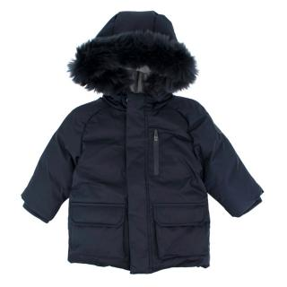 Jacadi Kids Navy Faux-fur Hooded Down Jacket