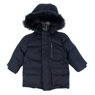 Jacadi Kids Navy Faux-fur Hooded Down Jacket