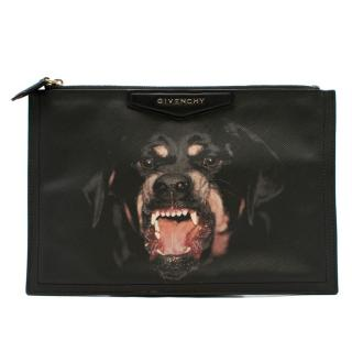 Givenchy Black Rottweiler Large Zipped Pouch