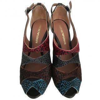 Emporio Armani Leopard Print Calf Hair Sandals