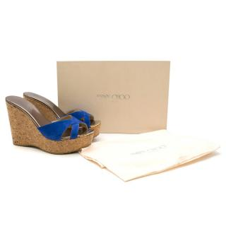 Jimmy Choo Electric Blue Suede Cork Wedge