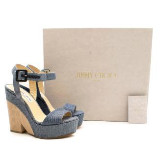 Jimmy Choo Blue Fine Raffia Nico 125 Wedge Sandals