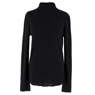 Tibi Black Lightweight High Neck Top