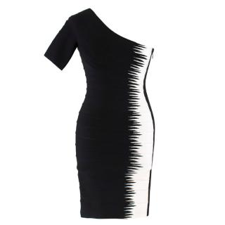 Herve Leger Black and White Asymmetric Bandage Dress