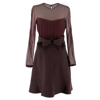 Valentino Burgundy Sheer Panel Silk And Wool Dress