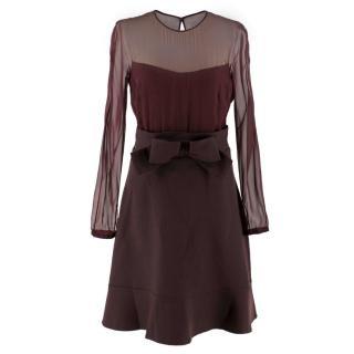 Valentino Burgundy Sheer Panel Silk And Wool Dress