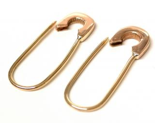 Bespoke safety pin earrings in solid yellow and rose gold