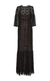 Alberta Ferretti long black lace maxi dress